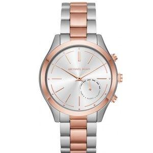 Silver Womens Two Tone Bracelet Hybrid Watch